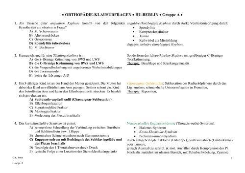 • ORTHOPÄDIE-KLAUSURFRAGEN • HU-BERLIN • Gruppe A •