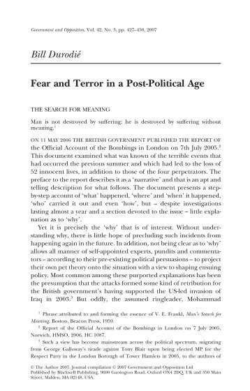 Bill Durodié Fear and Terror in a Post-Political Age - Bill Durodie