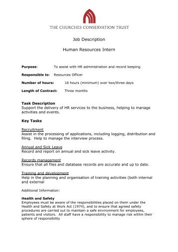 Page  Of  Job Description Human Resources And Administration