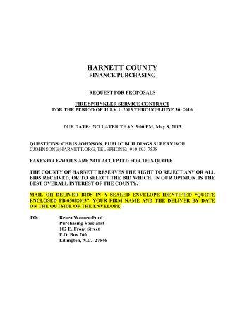 Harnett County Fire Sprinkler Maintenance Equipment Information