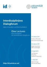 IDee Lectures_Einladung.indd - Universität Wien Medienportal