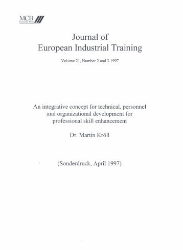 Journal of European Industrial Training - Institute for Applied Work ...