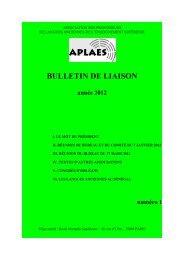 APLAES - Bulletin de liaison n° 1 (2012)