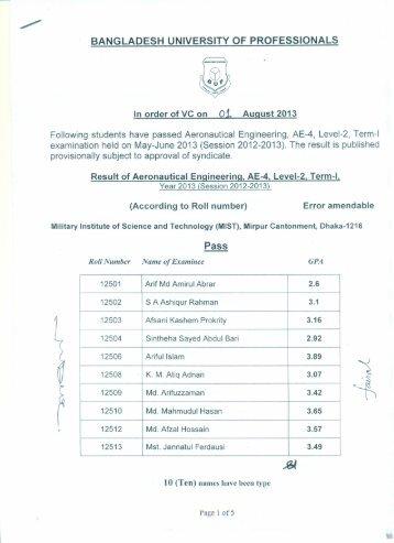 BANGLADESH UNIVERSITY OF PROFESSIONALS Pass - BUP
