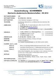 Ausschreibung - SCHWIMMEN - USI Leoben