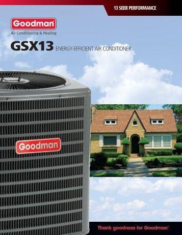 Goodman GSX 13 SEER Air Conditioners Consumer Brochure