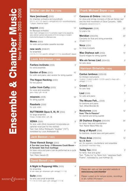 Ensemble & Chamber Music