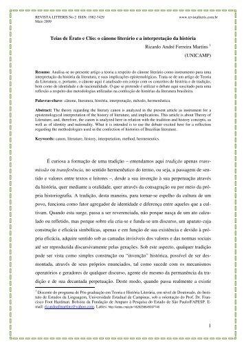 1 Teias de Érato e Clío: o cânone literário e a interpretação da ...