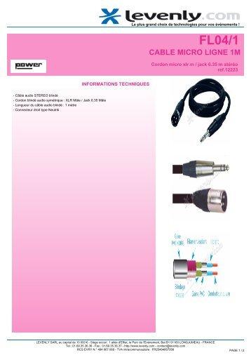 Fiche produit POWER - FL04/1, CABLE MICRO LIGNE 1M ... - Levenly