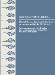 République du Mali - État nutritionnel des enfants ... - Measure DHS