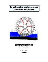 Le patrimoine archéologique industriel du Québec Le patrimoine ...