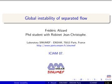 Global instability of separated flow - Jean-Christophe Robinet