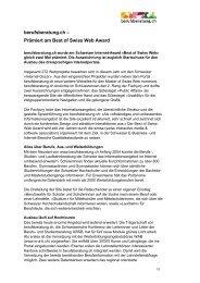 Medientext Best of Swiss Web Award und Ausbau des Portals (PDF)