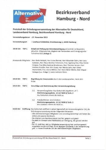 27.11.2013 Gründungsprotokoll des AfD Bezirksverbandes HH-Nord