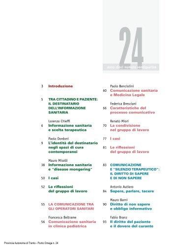 Il destinatario dell'informazione sanitaria - Trentino Salute