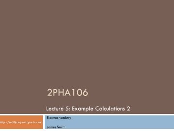 2PHA206 Chemistry for Pharmacy (II) - James Smith