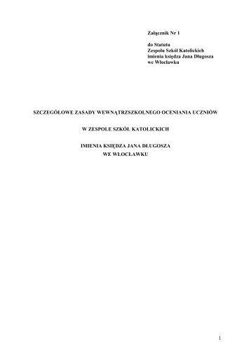 1 Załącznik Nr 1 do Statutu Zespołu Szkół Katolickich imienia ...