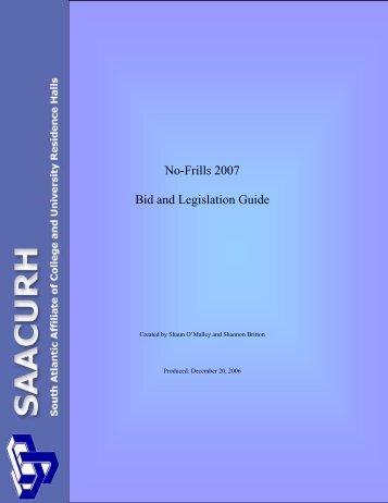 No Frills Bid/Legislation Guide - saacurh - National Association of ...