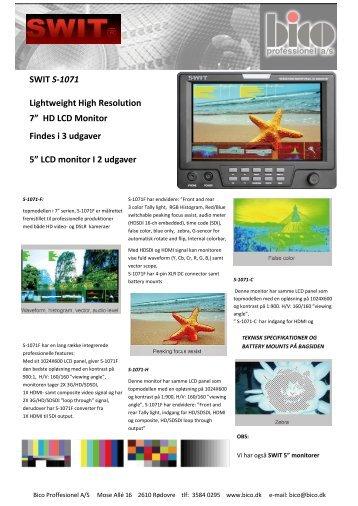 Datablad SWIT Monitore - Bico Professionel