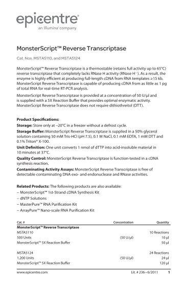 Protocol for MonsterScript™ Reverse Transcriptase