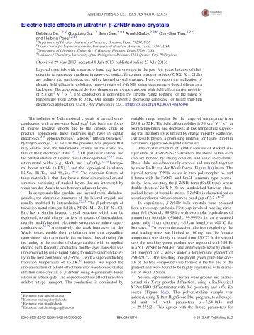 Electric field effects in ultrathin b-ZrNBr nano-crystals - University of ...