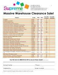 Massive Warehouse Clearance Sale! - Supreme 4 Schools