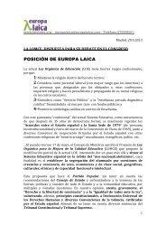 POSICIÓN DE EUROPA LAICA