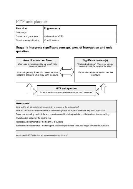 MYP Mathematics Unit Planner