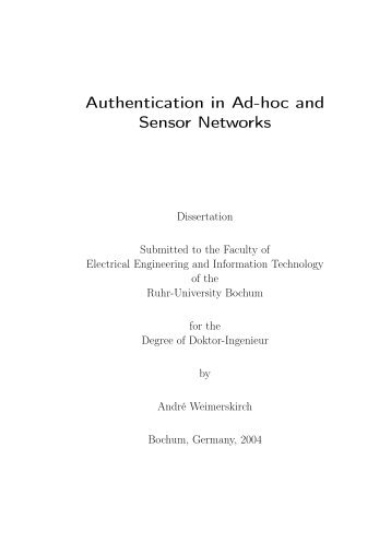 Authentication in Ad-hoc and Sensor Networks