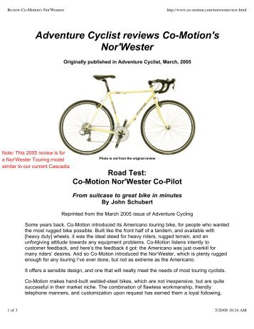 Review-Co-Motion's Nor'Westero - Co-Motion Cycles