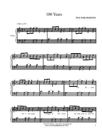 100 Years - Daily Piano Sheets