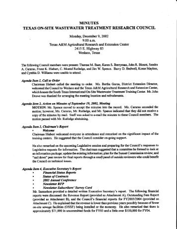 minutes texas on-site wastewater treatment research coi]ncil