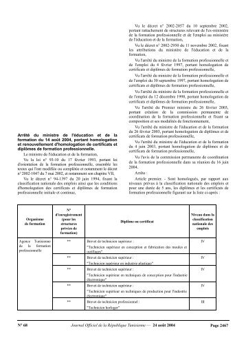 Arrêté du ministre de l'éducation et de la formation du 14 Aout 2004 ...