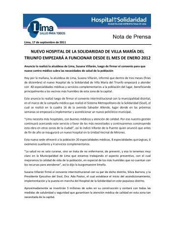 nuevo hospital de la solidaridad de villa maría del triunfo empezará ...