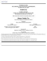 8K Report - Jones Soda