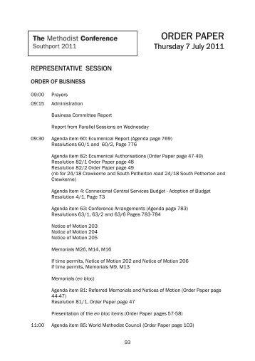 ORDER PAPER - Methodist Conference