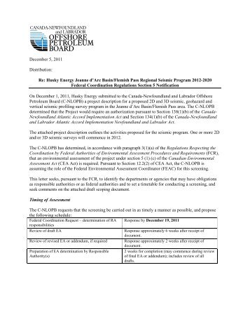 FCR Notification - Canada-Newfoundland Offshore Petroleum Board