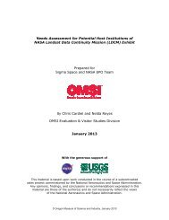 Needs Assessment for Potential Host Institutions of NASA ... - OMSI