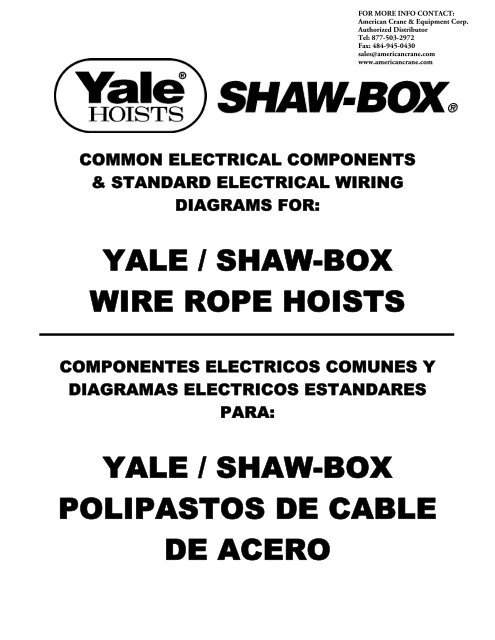 yale shaw box wire rope hoists yale shaw box polipastos de cable