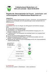 Regelbesonderheiten Frauen und Junioren - SV Bayer Wuppertal