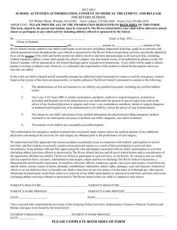 2012-13 School Activities Release Form - The Rivers School
