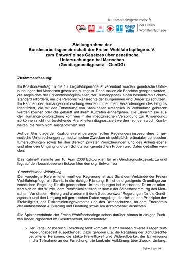 Stellungnahme der Bundesarbeitsgemeinschaft der Freien ...