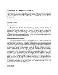Open Letter to Prime Minister Harper