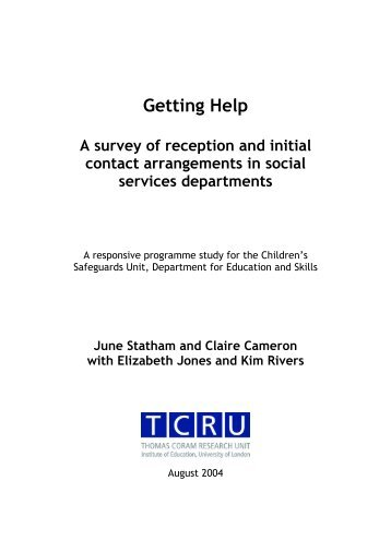 A Survey of Reception and Initial Contact Arrangements in Social ...