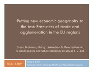 Free-ness of trade and agglomeration in the EU regions
