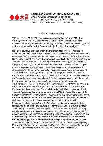 Celá správa - Detská fakultná nemocnica Banská Bystrica