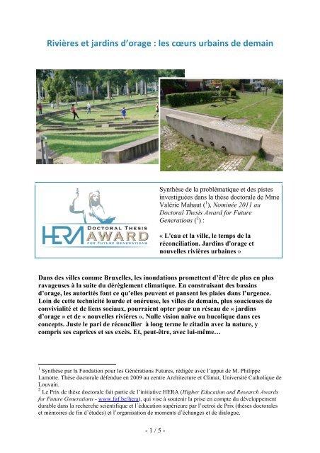 Rivières et jardins d'orage : les coeurs urbains de demain - FGF