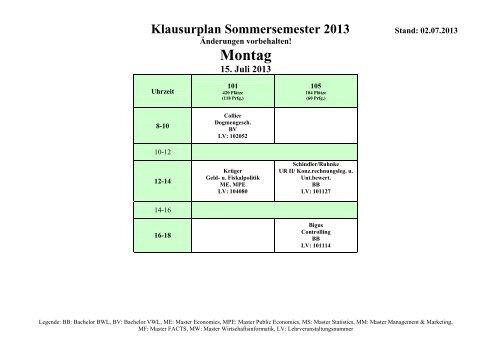 Klausurplan SoSe 2013