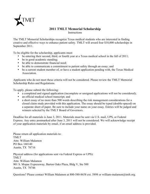 2011 TMLT Memorial Scholarship