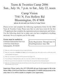 Teens & Twenties Camp 2006 Sun., July 16, 7 p.m. to Sat., July 22 ...